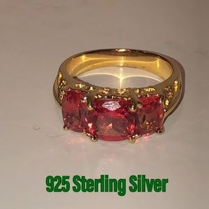Boho 925 Sterling Silver ring w/ pink stones VTG 7